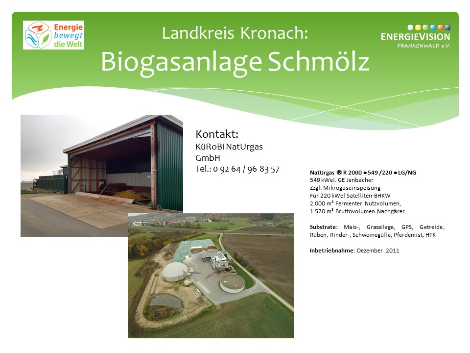Informationen zur Biogasanlage Schmölz